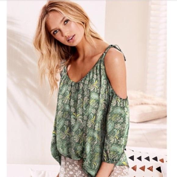 bfe6a38fac8496 Victoria s Secret green floral cold shoulder top. M 5bc1f8d35c44524ea41c051e